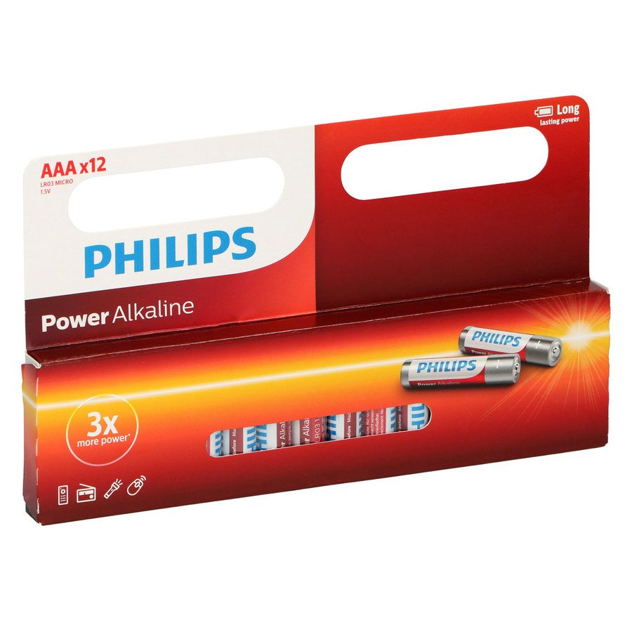 Batteri – 12 stk Phillips Power Alkaline AAA