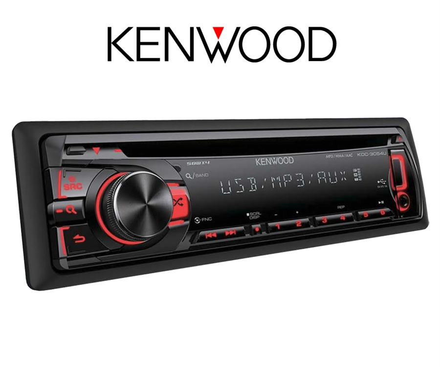 Kenwood bilstereo KDC-CD-spiller, 50W x 4 MOSFET, Front USB& AUX